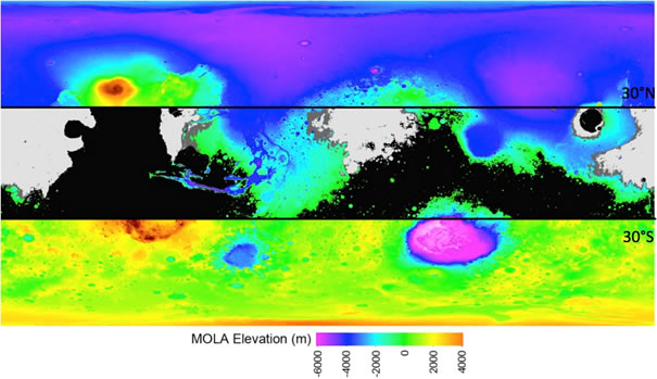 Figure 1. Areas that meet the engineering constraints for landing the 2020 Mars Rover are within ±30° latitude, below +0.5 km elevation, with thermal inertia >100-150 J m-2 K-1 s-½. Background map is MOLA topography with ±30° latitude limits shown. Black areas are >+0.5 km elevation, light grey areas have <100 J m-2 K-1 s-½ and dark grey <150 J m-2 K-1 s-½ thermal inertia within ±30° latitude. Thermal inertia data from Christensen et al. [2001].